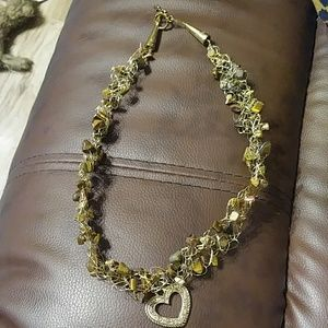Stone And Wire Necklace W/Heart Charm